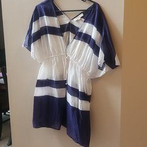 Loft navy white beach dress swimsuit cover up